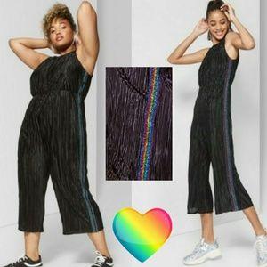 Wild Fable Women's Bodre Jumpsuit rainbow stripes